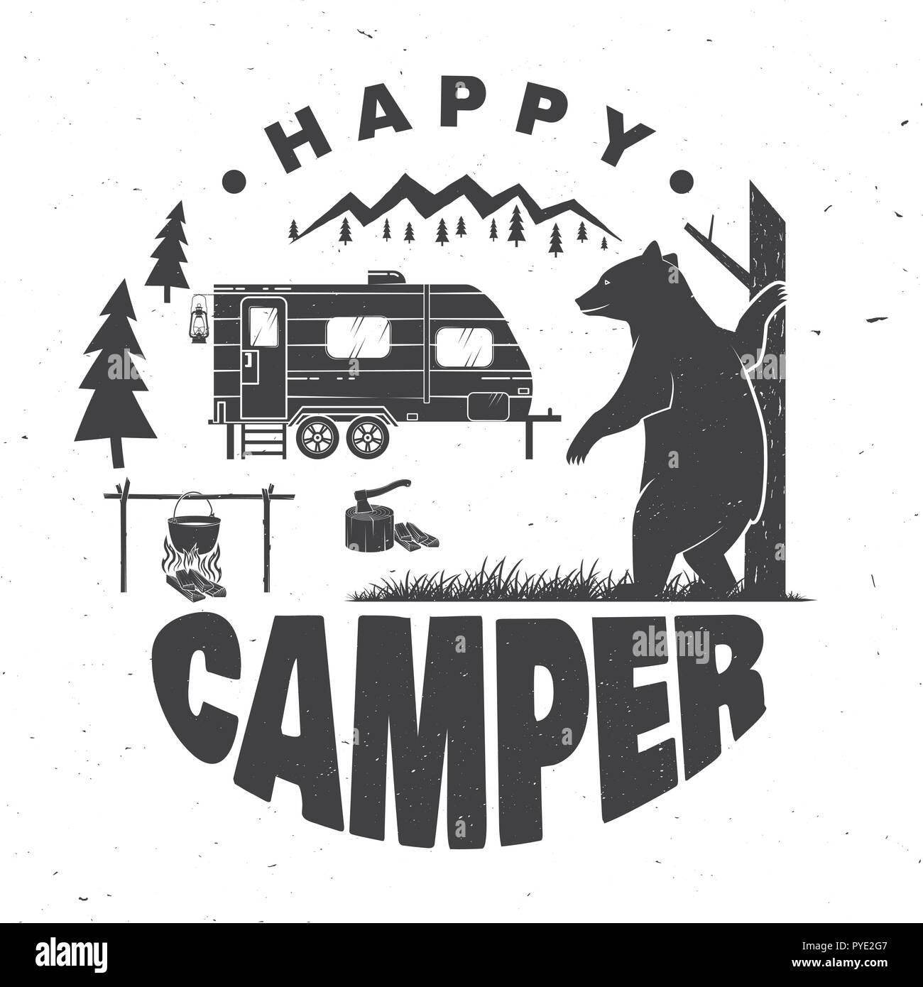 Happy camper. Vector illustration. Concept for shirt or logo, print, stamp or tee. Vintage typography design with camping trailer, bear, campfire and forest silhouette. - Stock Image