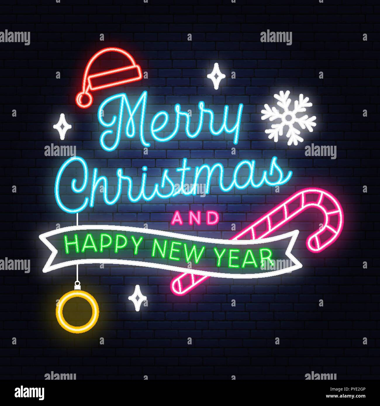 merry christmas and happy new year neon sign with snowflakes hanging christmas ball santa hat candy vector neon design for xmas new year emblem bright signboard light banner night signboard PYE2GP