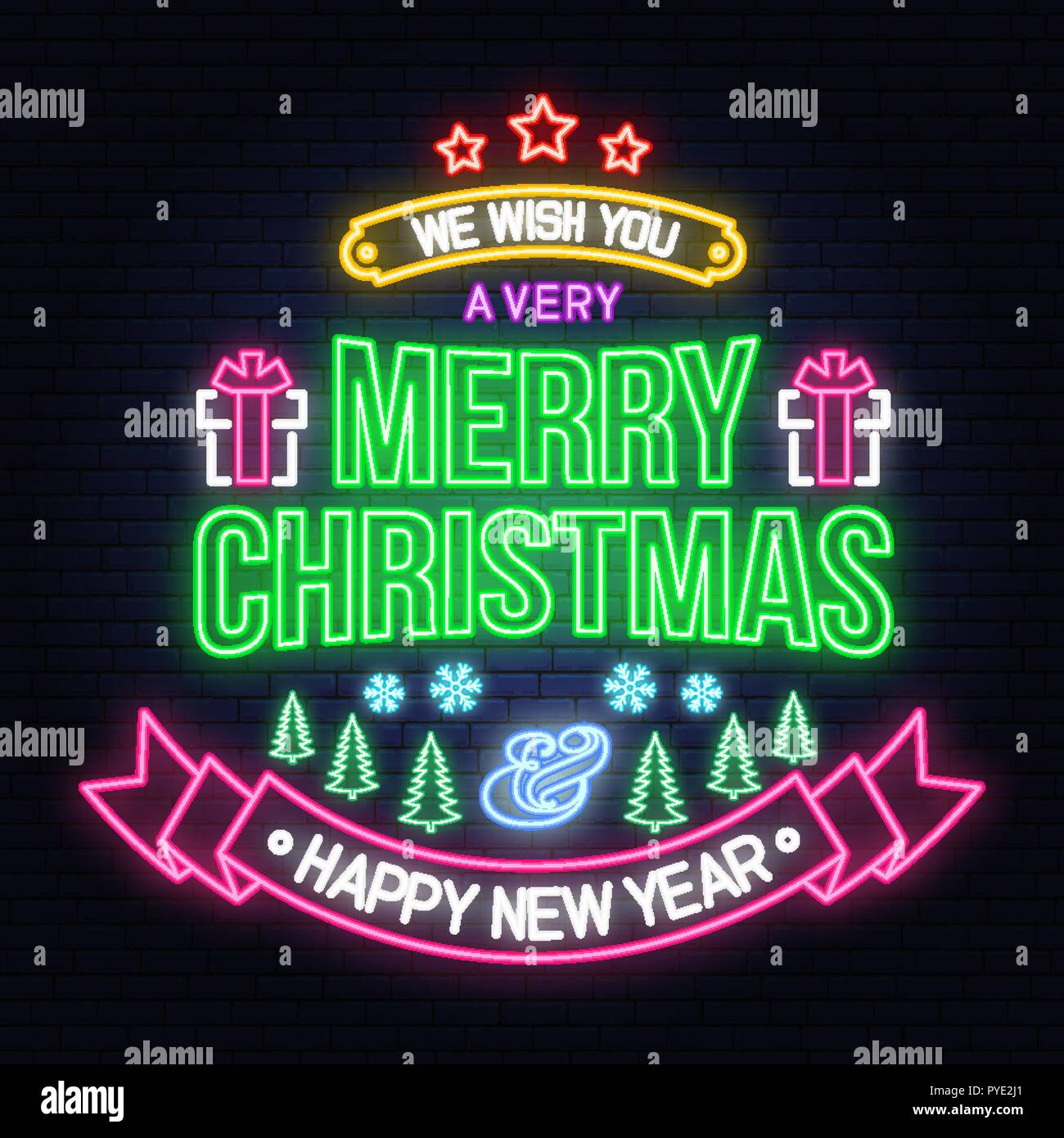 we wish you a very merry christmas and happy new year neon sign with snowflakes christmas tree gift vector neon design for xmas new year emblem