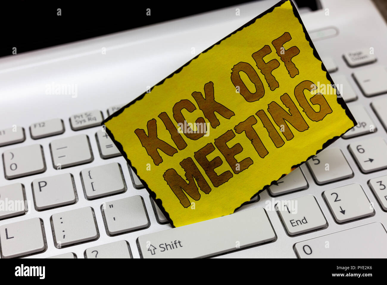 Text sign showing Kick Off Meeting. Conceptual photo getting fired from your team private talking about company. - Stock Image