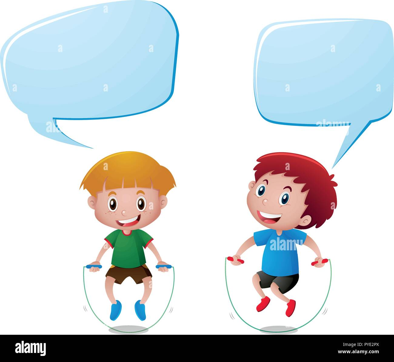 speech bubble template with two boys jumping rope illustration stock