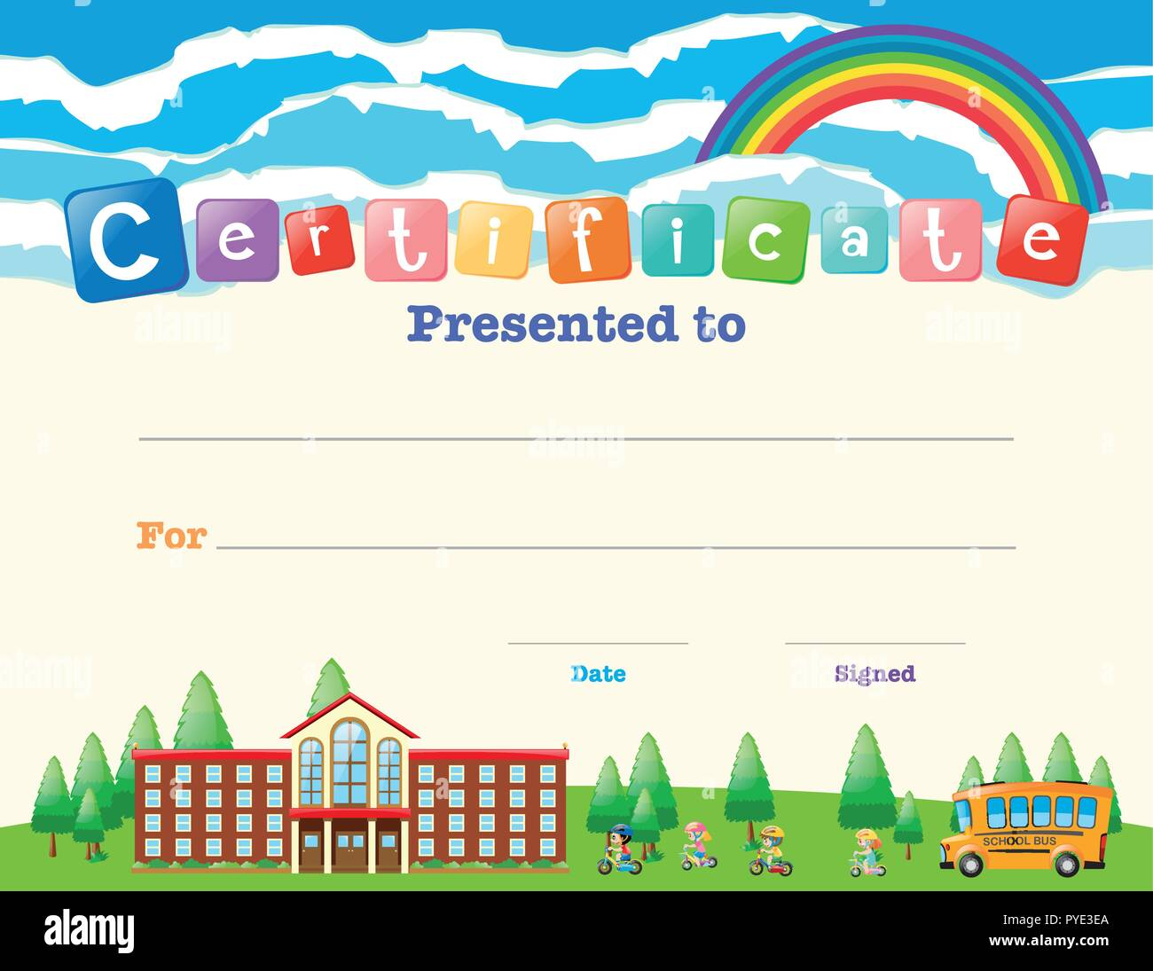Certificate Template With Kids At School Illustration Stock Vector