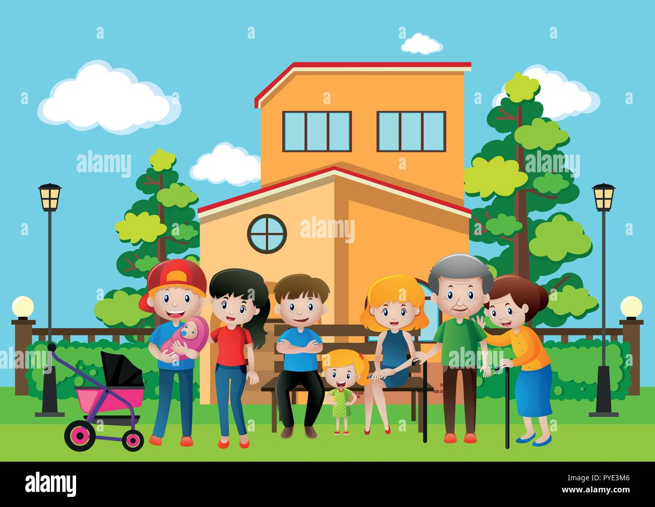 Family members at the house illustration - Stock Vector