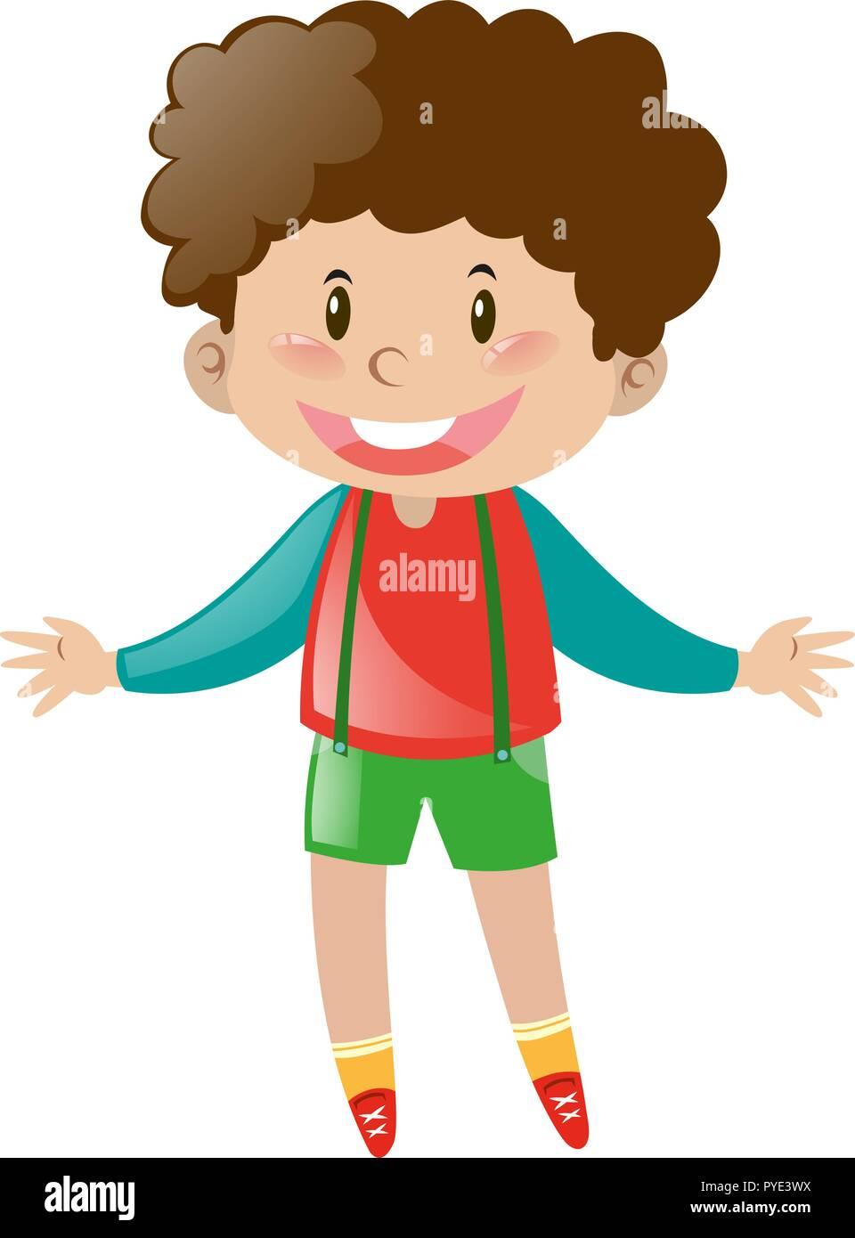 Little Boy Curly Hair Illustration High Resolution Stock