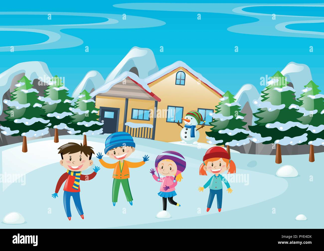 Winter scene with children standing in front of the house  illustration Stock Vector