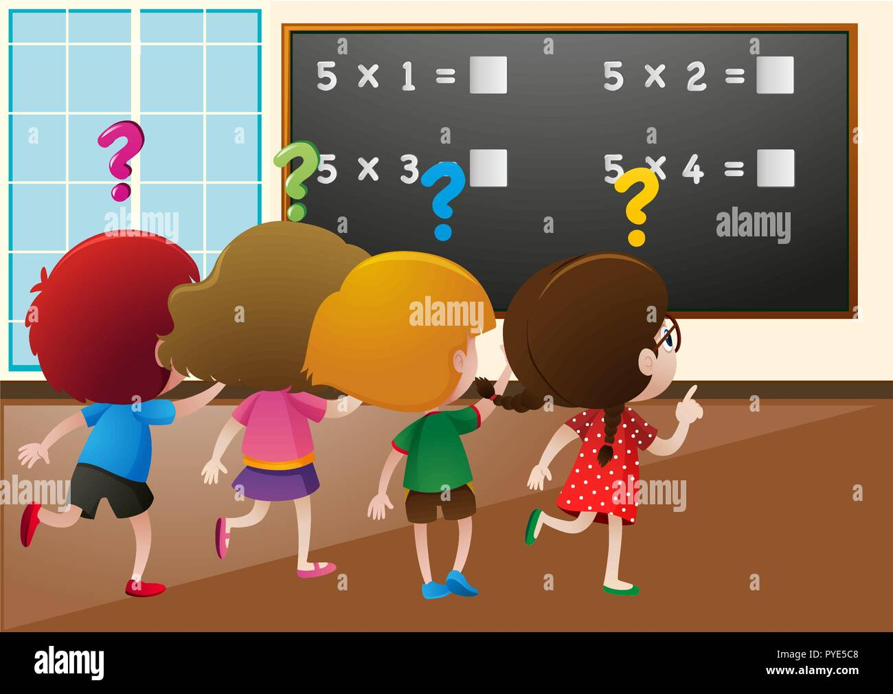 Students working out math problem in class illustration - Stock Vector