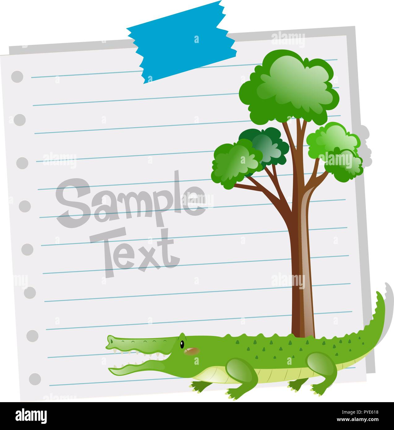paper template with crocodile and tree illustration stock vector art