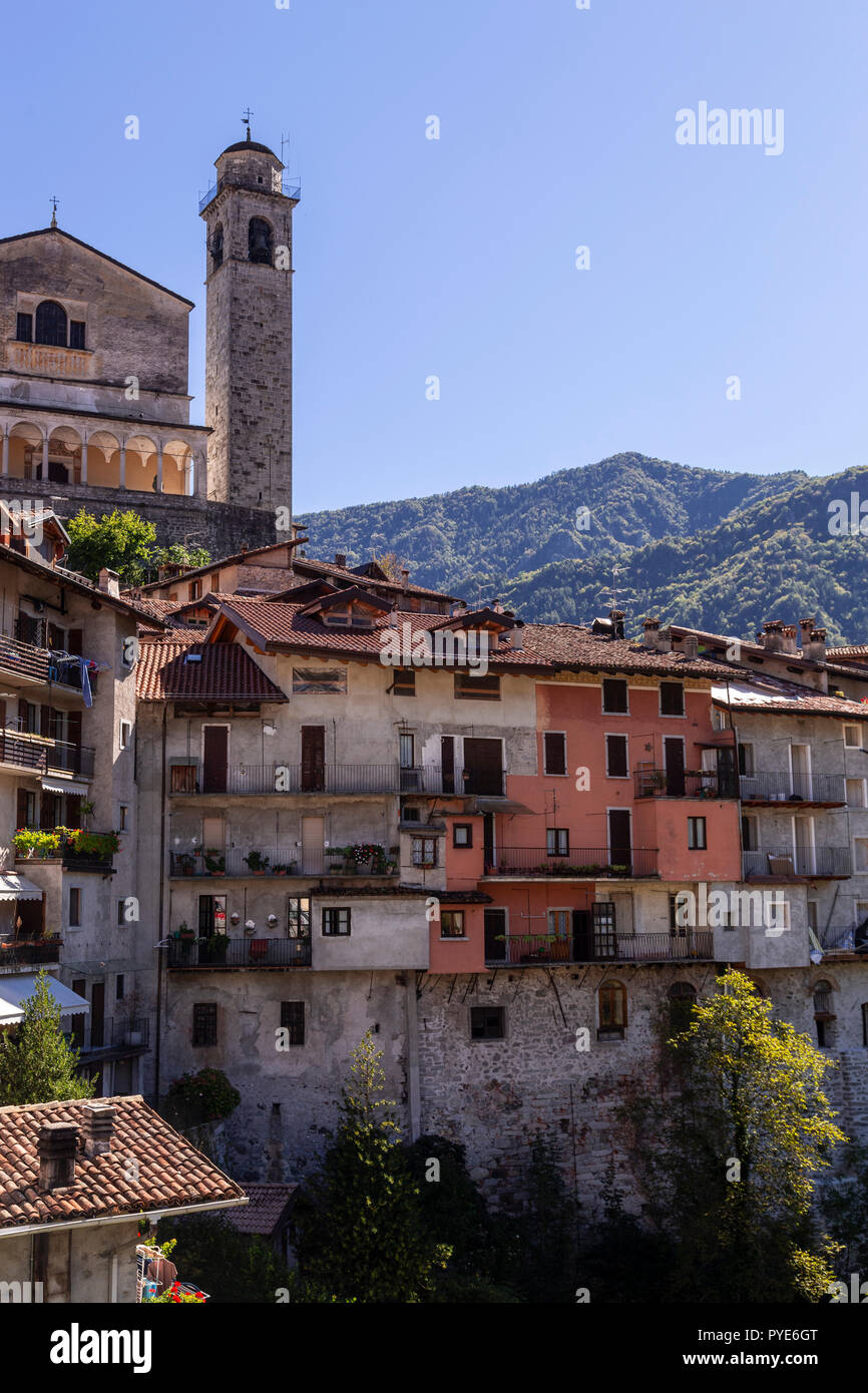 The town of Bagolino in the moutains of northern Italy - Stock Image