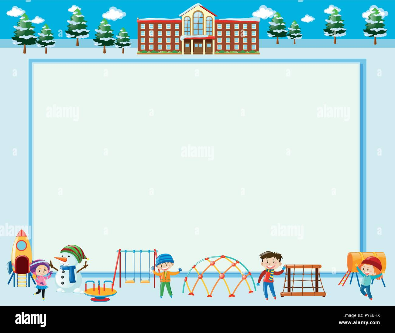 frame template with kids in winter illustration stock vector art