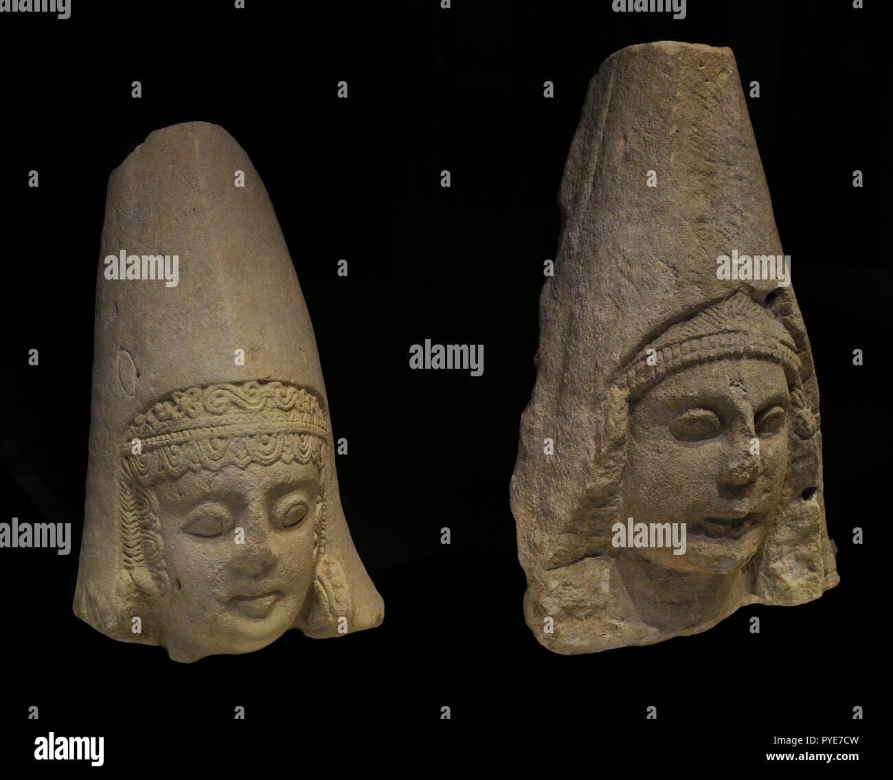 Cultura Iberica Cabezas Femeninas Siglo Ii A C Piedra Caliza