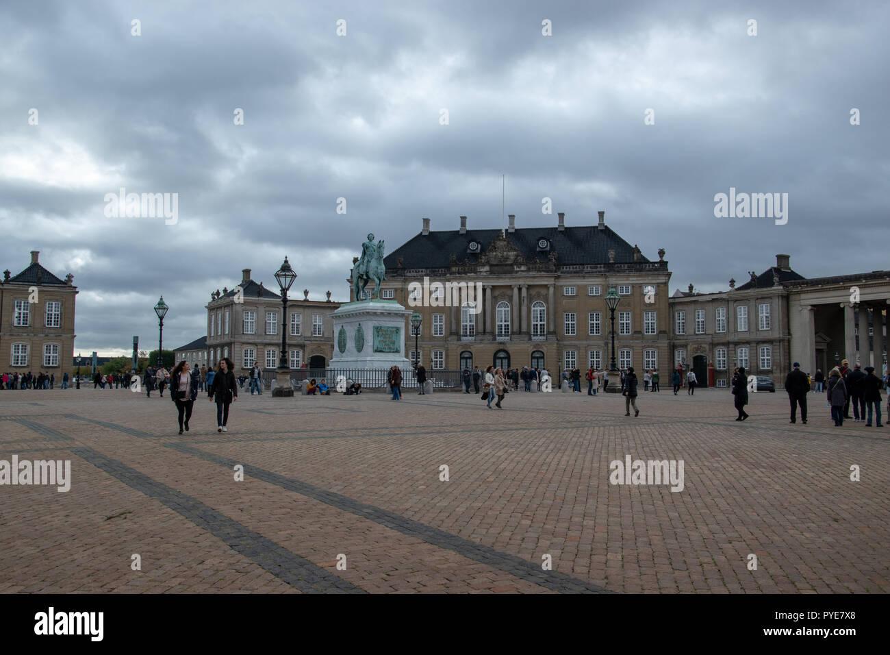 Levetzau Palace (Christian VIII, Christian X) part of Amalienborg Palace, Royal Palace since 1794. Copenhagen, Denmark - Stock Image