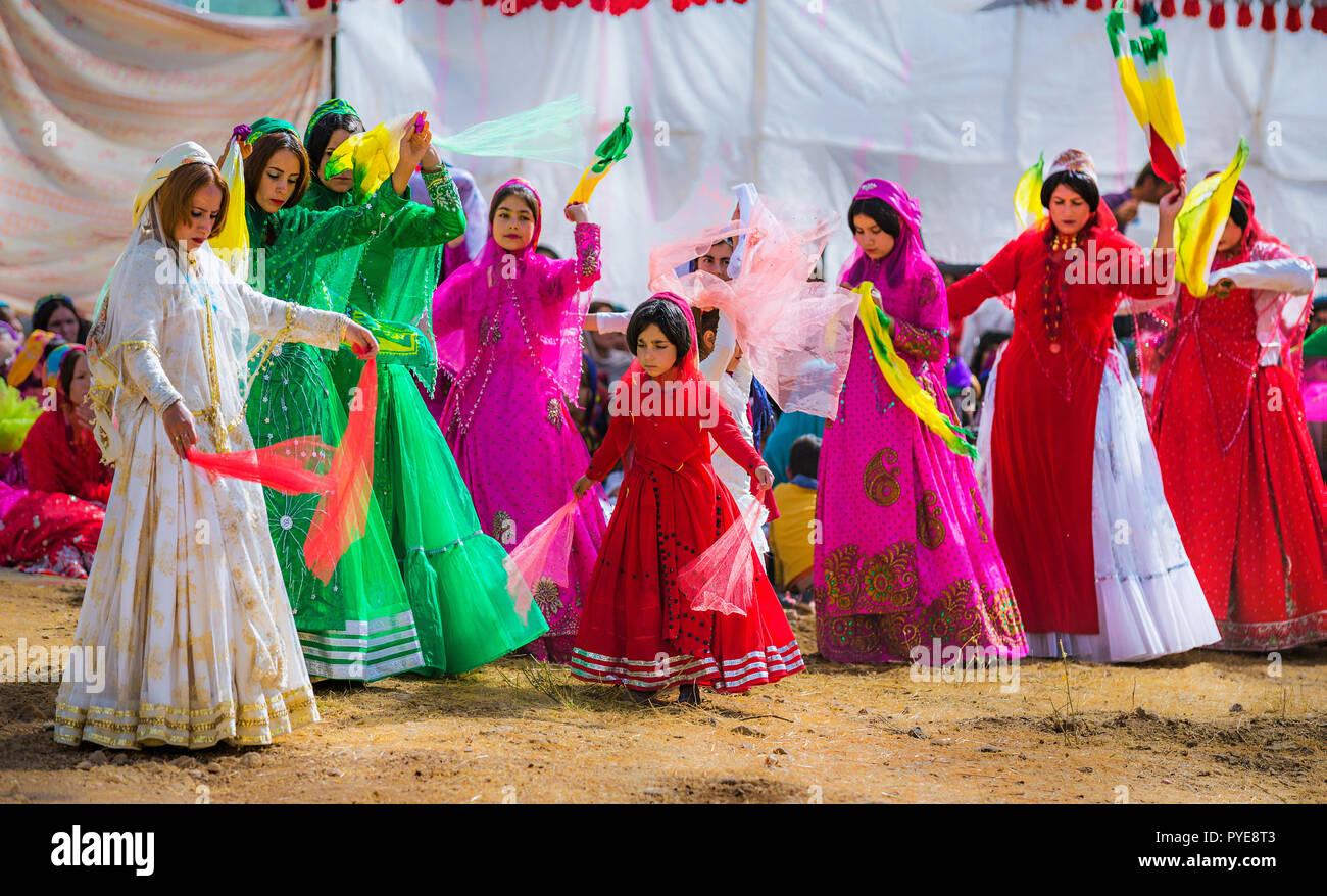 Qashqai traditional dances during wedding ceremony, nomad people of Iran - Stock Image