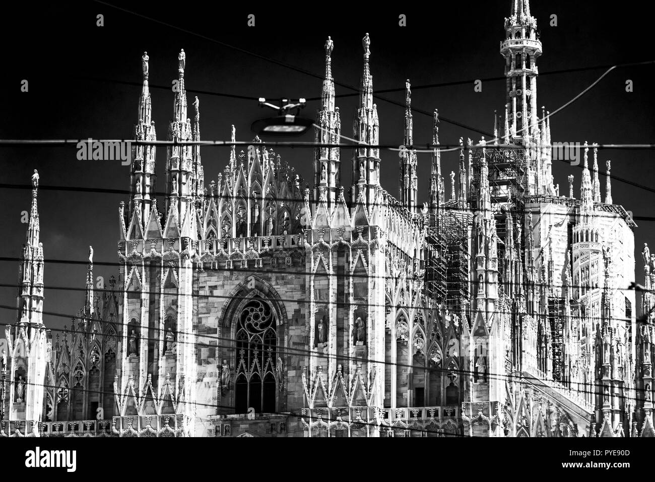 6 JUNE 2018, MILAN, ITALY: Black and White images of a religious building landmark of the Cathedral of Milan (Duomo di Milano) - Stock Image