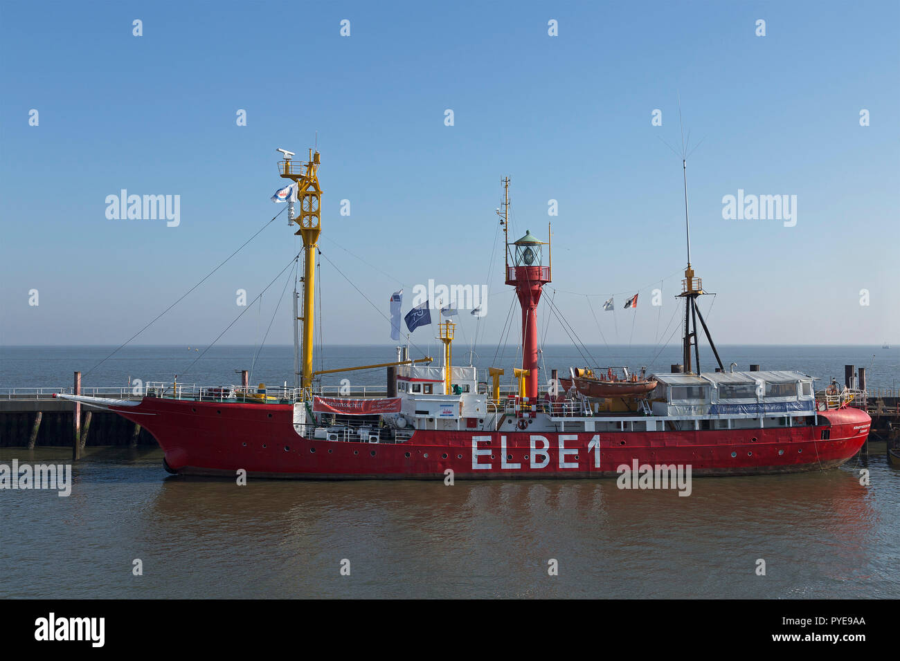 lightship Elbe 1 at the harbour, Cuxhaven, Lower Saxony, Germany - Stock Image