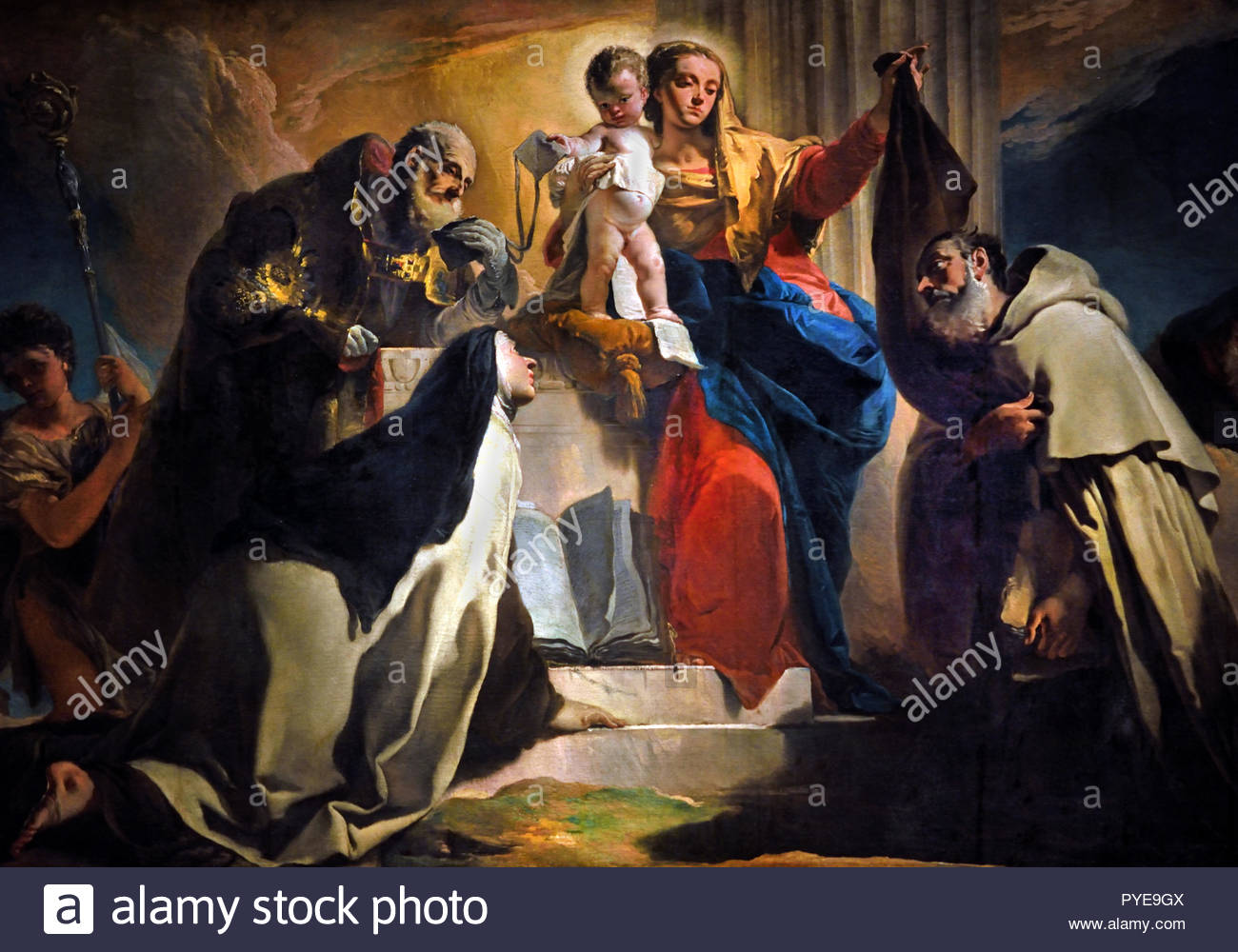 Our Lady of Mount Carmel with St. Simon Stock, St.Teresa of Avila, St. Albert of Vercelli, the Prophet Elijah and the Souls in Purgatory 1745 by Giovanni Battista Tiepolo 18th Century, Italy, Italian.(Detail) - Stock Image
