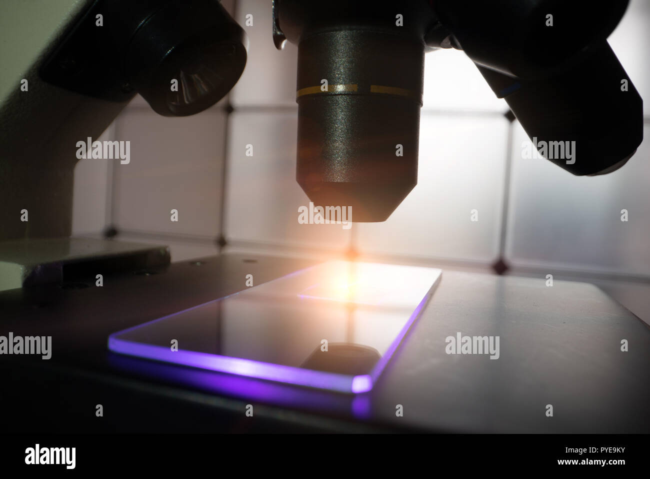 Close up microscope objective and  slide Stock Photo