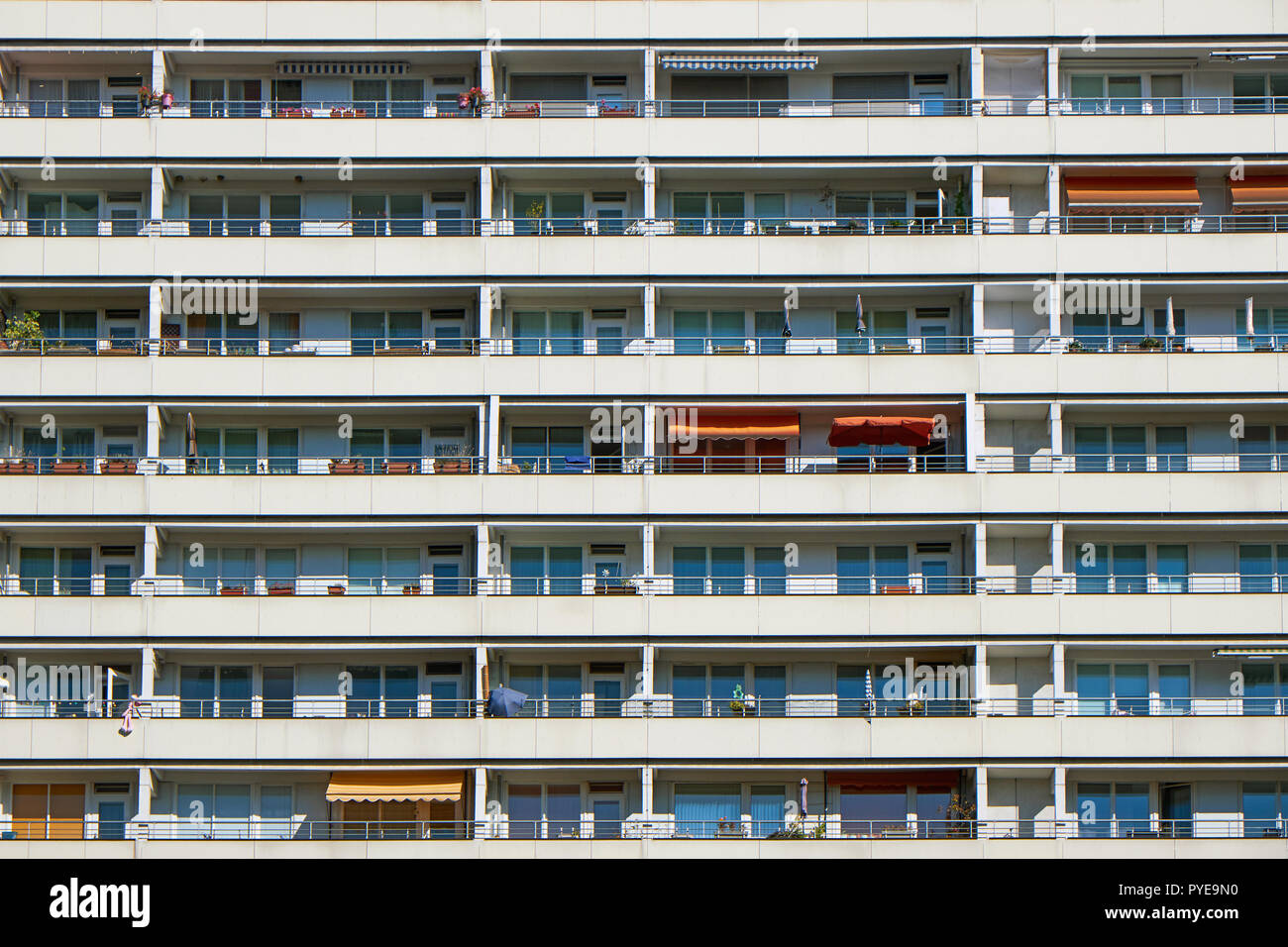Facade of a prefabricated public housing building seen in Berlin, Germany - Stock Image