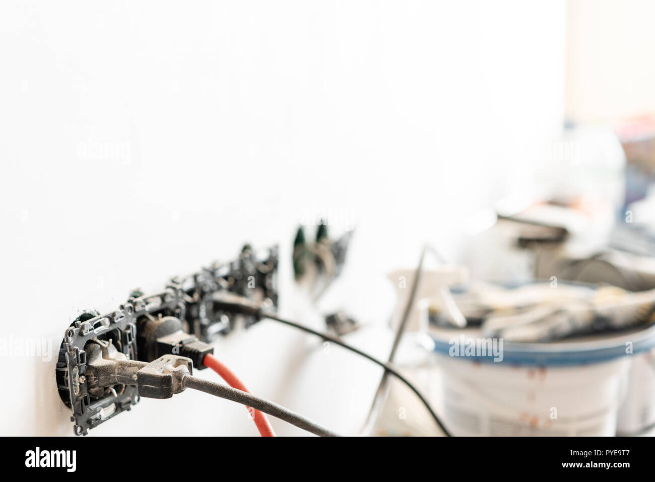 Wiring Tools Stock Photos Images Alamy House Lots Of And Cans Paint In The Background