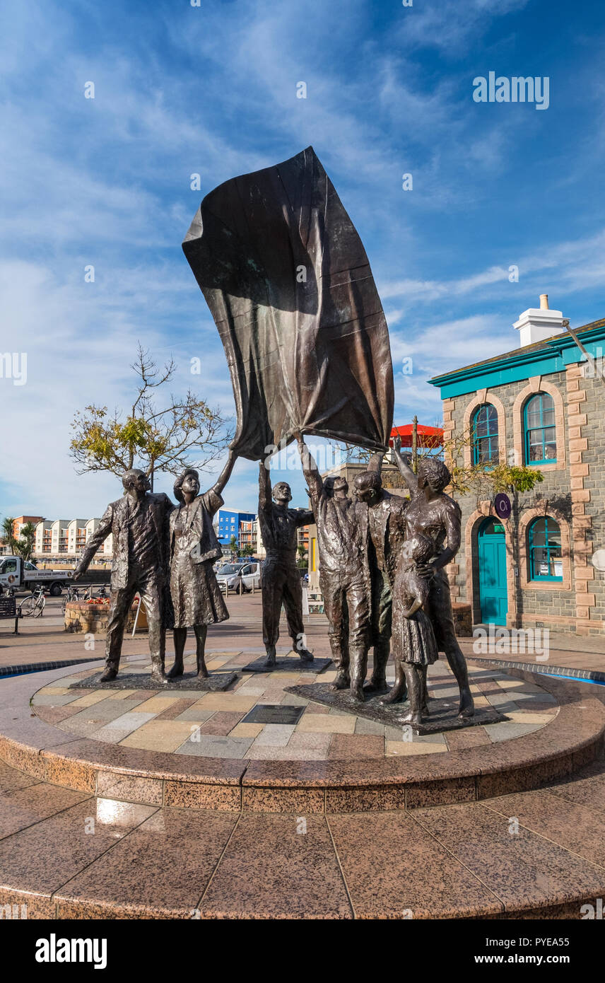Liberation monument in Liberation Square, St Helier, Jersey by sculptor Philip Jackson - Stock Image