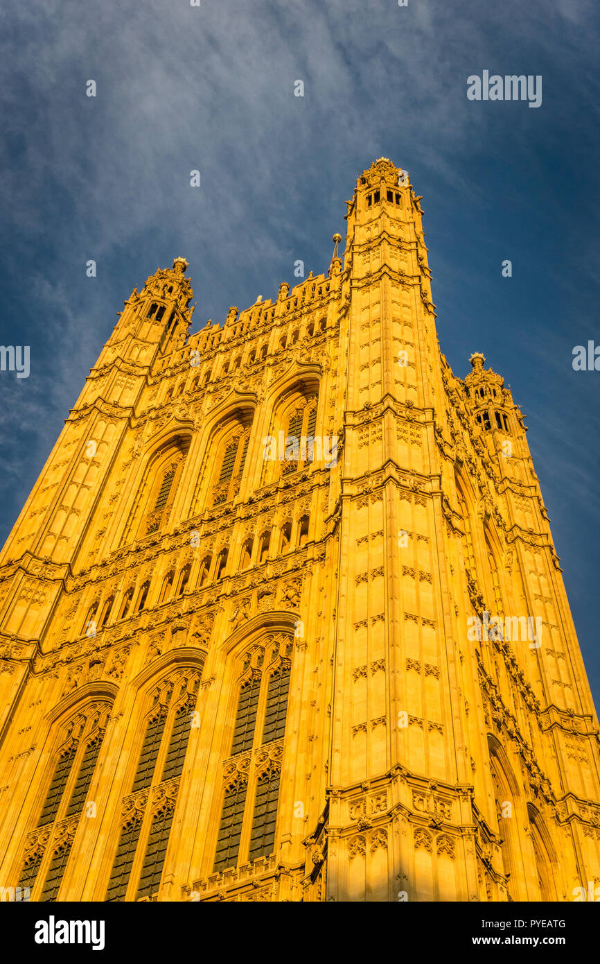 Houses of Parliament, Westminster, London currently undergoing major renovation Stock Photo