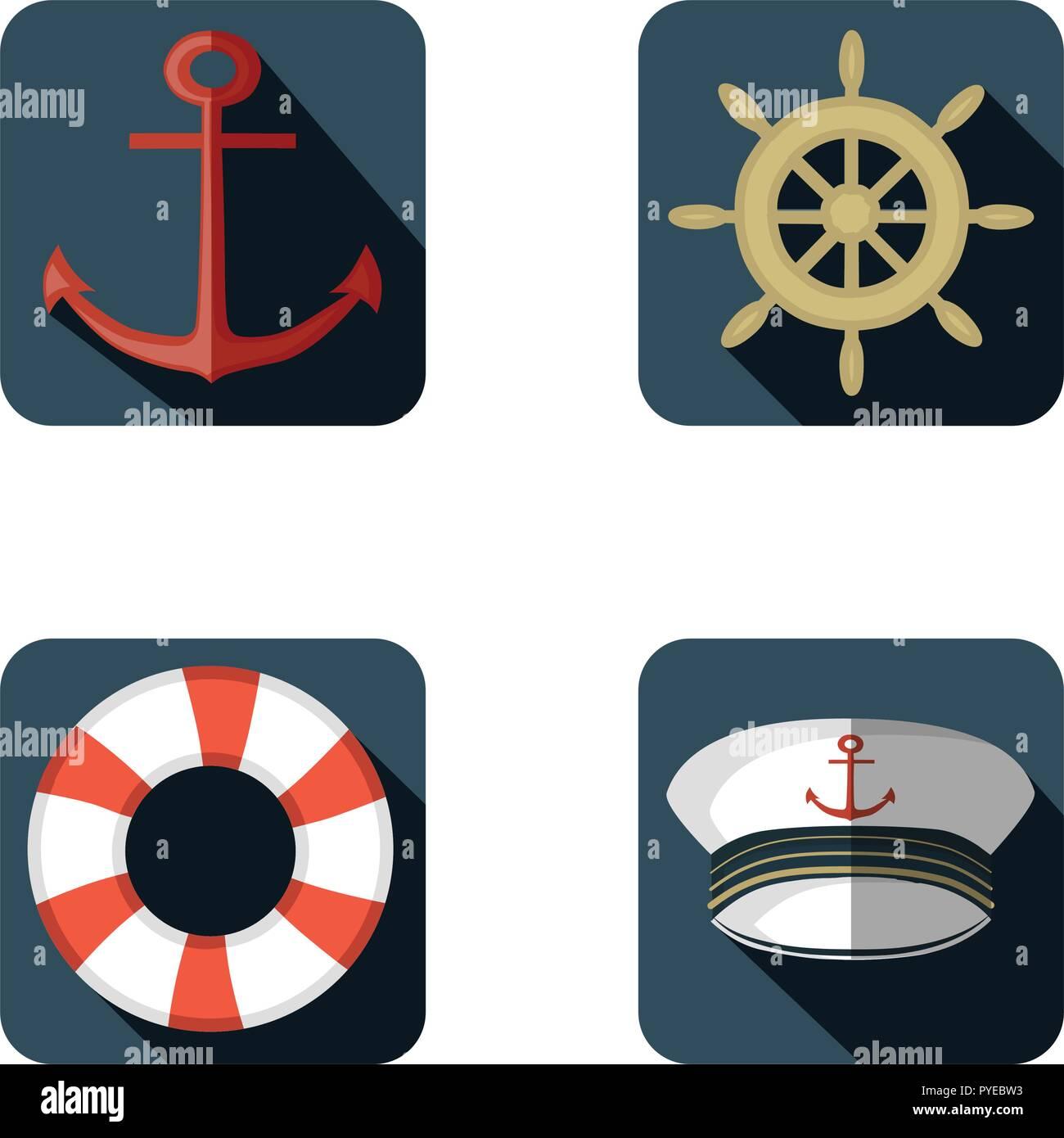 Navy icon set, flat design, vector illustration - Stock Image