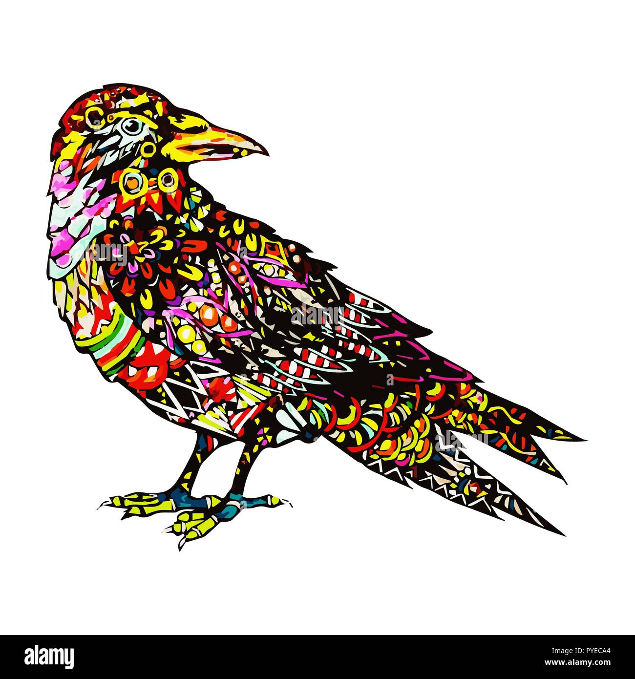 Hand Drawn Bird Sketch For Anti Stress Adult Coloring Book In Zen Tangle Style Vector Illustration For Coloring Page Stock Vector Image Art Alamy