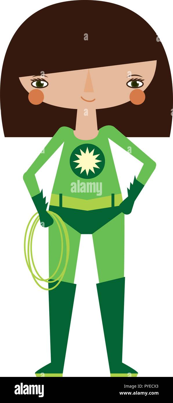 Vector green superheroine graphic editable illustration with super lasso. Use for scrapbooking, crafting, scrapbooking - Stock Vector