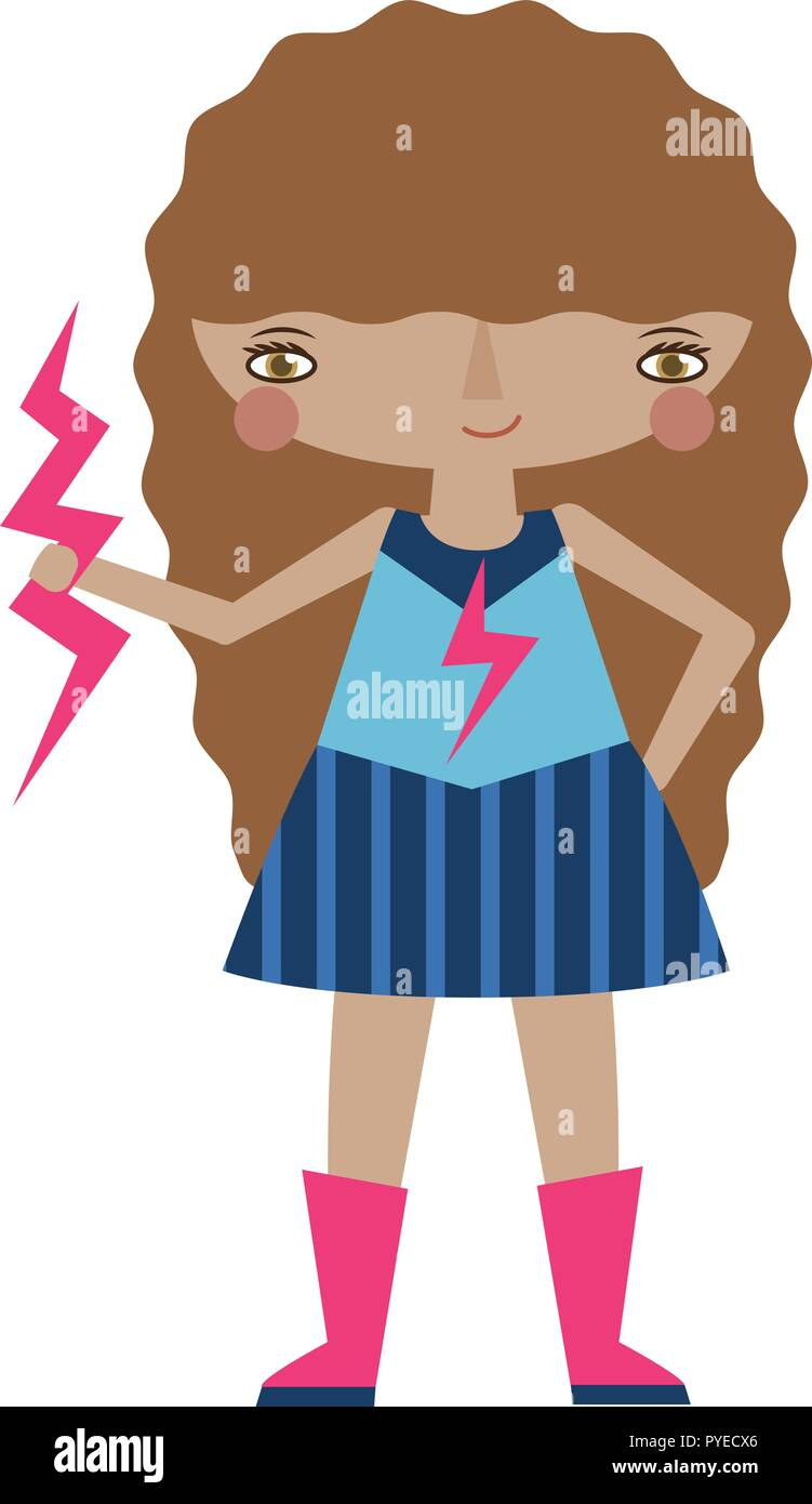 Vector pink and blue superhero graphic editable illustration with lightning powers. Use for scrapbooking, crafting, quilting - Stock Vector