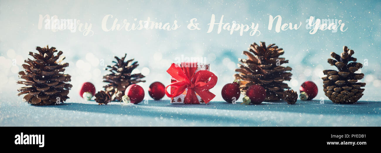 Beautiful simple Christmas banner with copy space. Cute