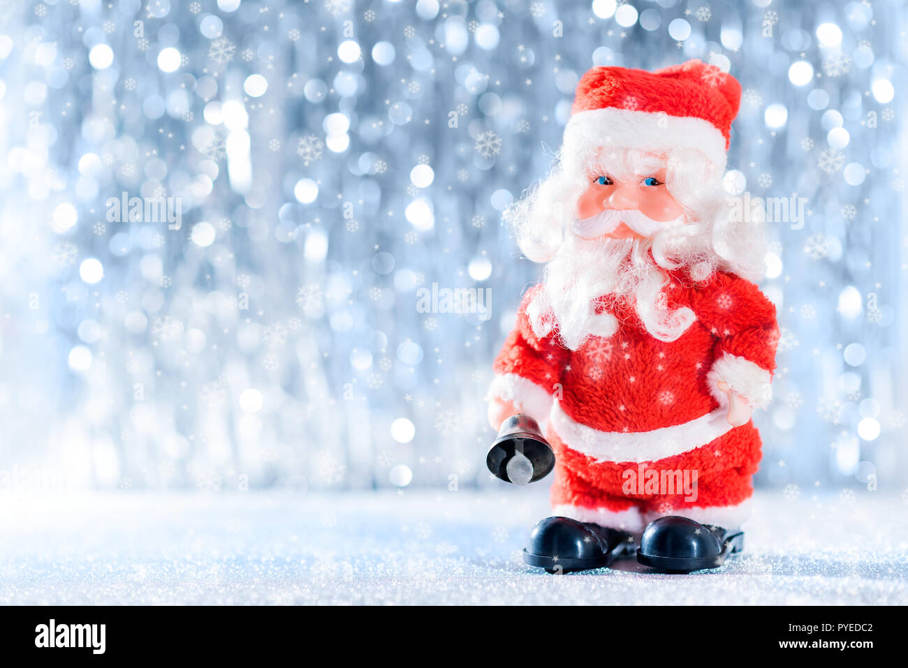 cute santa clause in winter wonderland christmas background with copy space PYEDC2