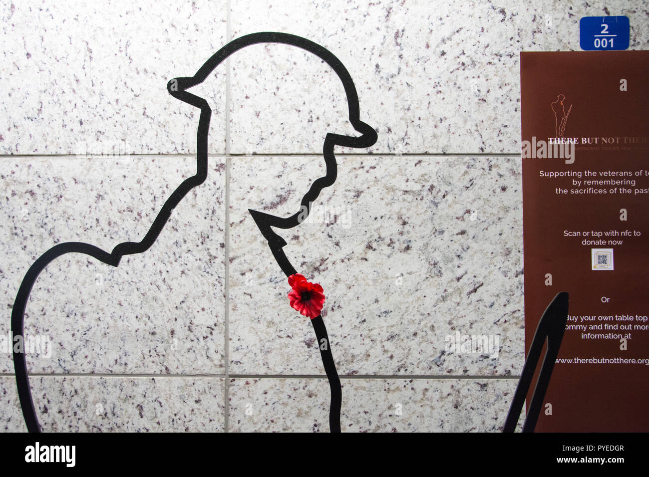 There But Not There  silhouetted Tommy memorial at Victoria Station, London, UK  First World War - Stock Image