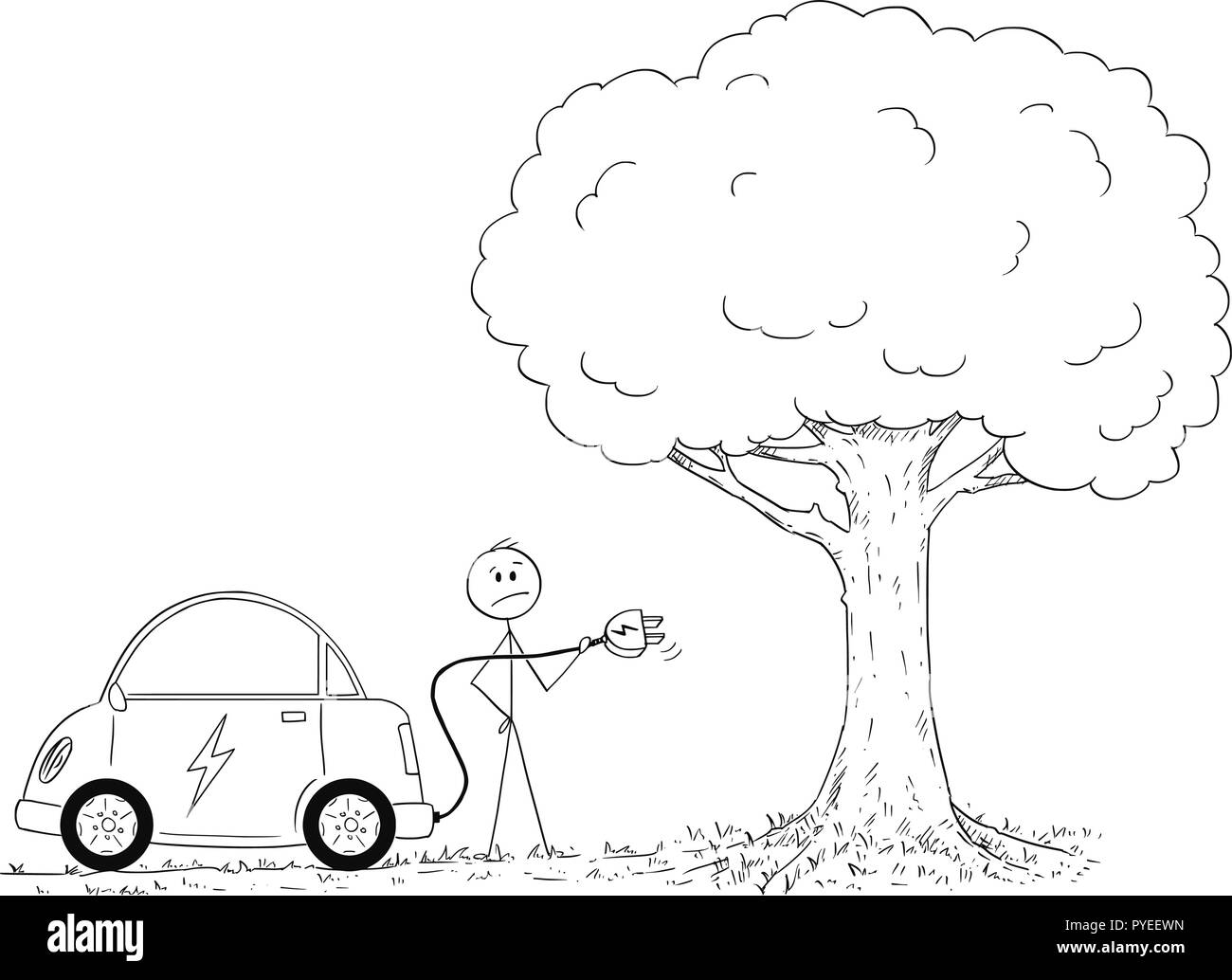 Cartoon of Man Looking How to Charge Electric Car in Nature - Stock Vector