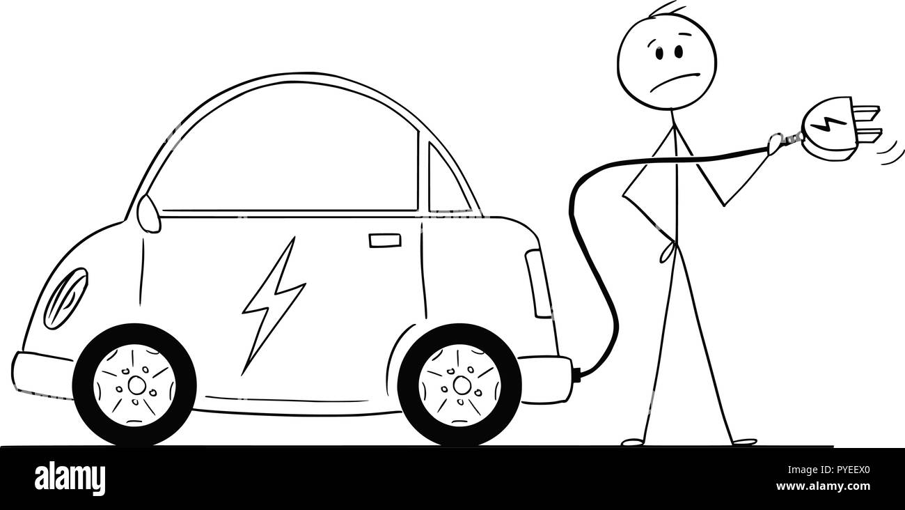 Cartoon of Man Who Wants to Charge His Electric Car - Stock Vector