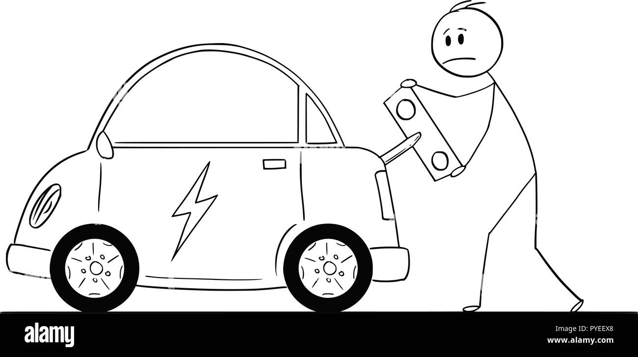 Cartoon of Man Winding Up or Charging Electric Car by Toy Key - Stock Vector