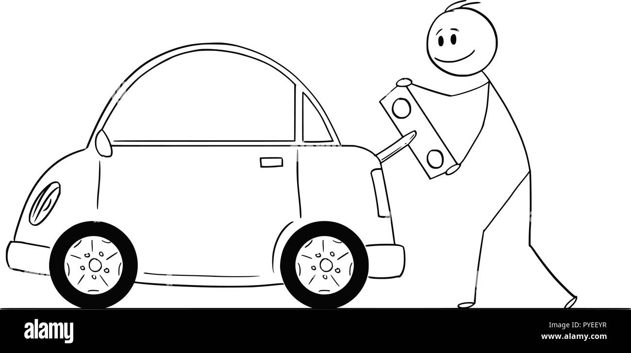 Cartoon of Happy Man Winding Up or Charging Electric Car by Toy Key - Stock Vector