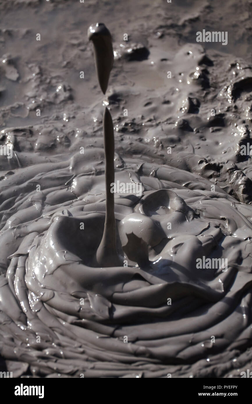 Boiling mud, Waiotapu Thermal Reserve, near Rotorua, North Island, New Zealand - Stock Image