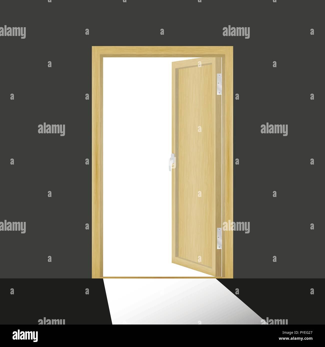 Wooden open door in a dark room - Stock Vector