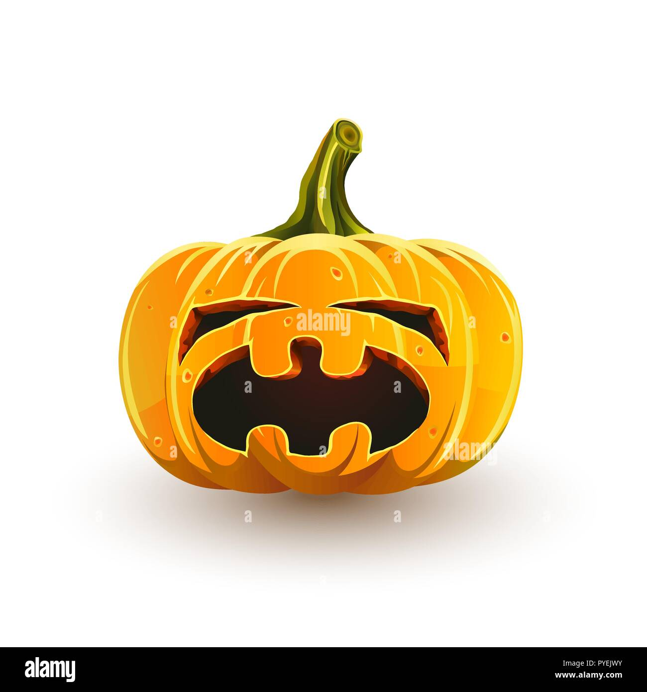 Crying Halloween pumpkin. Jack-o'-lantern for Halloween isolated on white background - Stock Vector