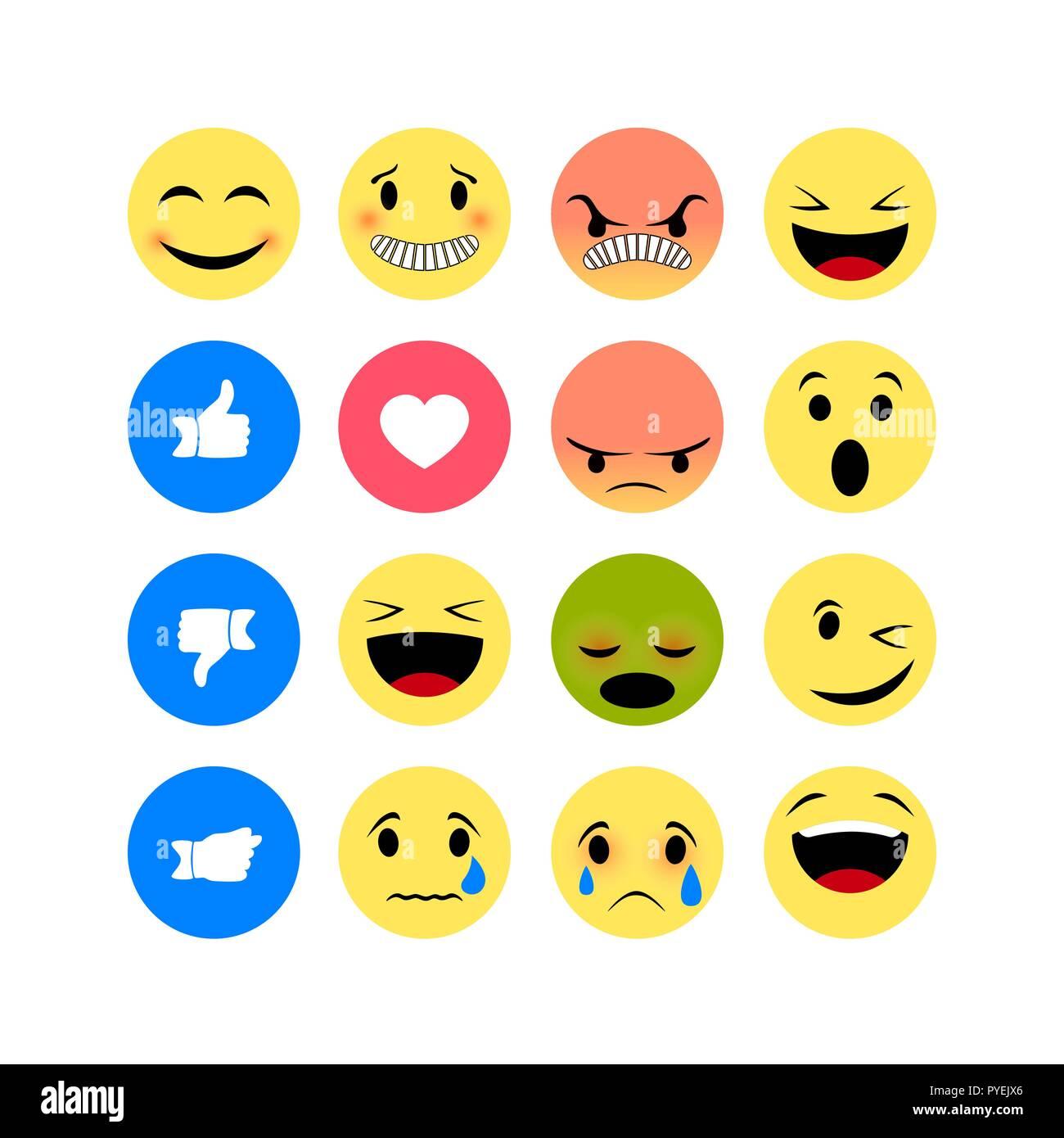 Emotion icons isolated on white background. Funny Emoji icon - Stock Image