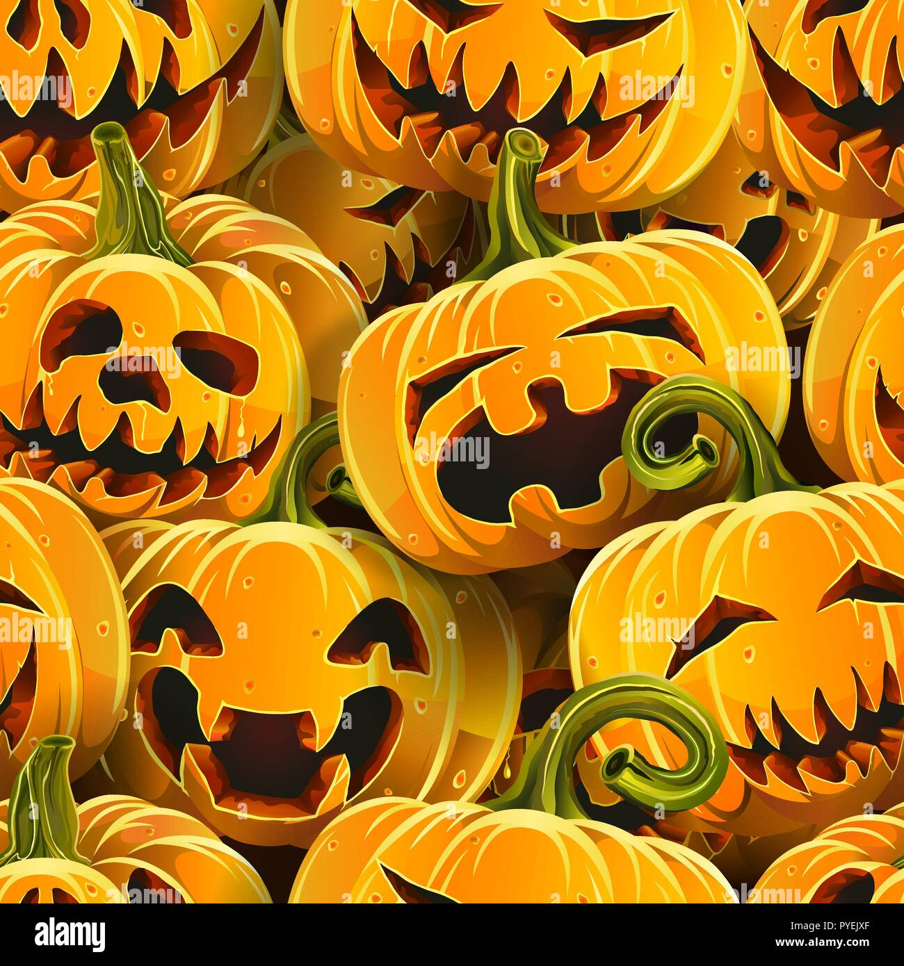 Halloween pumpkins seamless pattern - Stock Vector