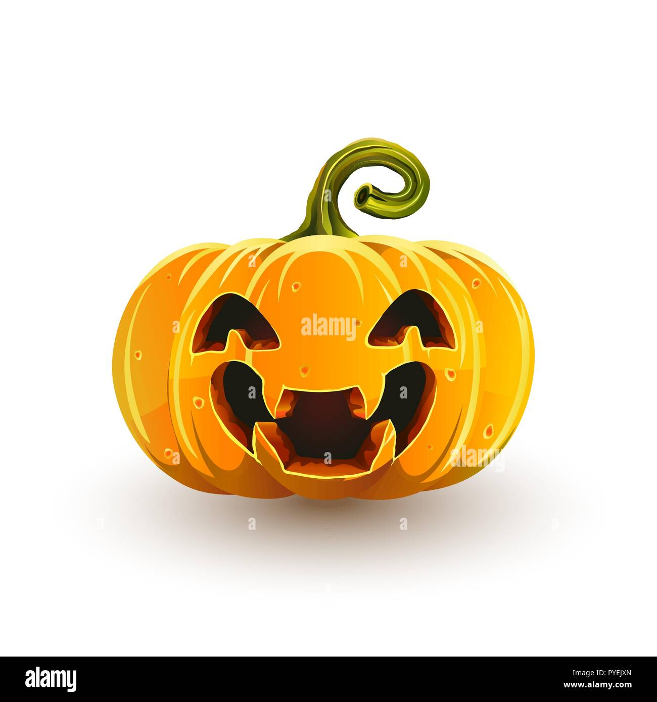 Lucky laughing Halloween pumpkin. Jack-o'-lantern for Halloween isolated on white background - Stock Vector