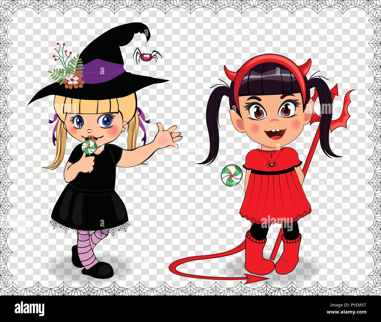 Cartoon characters of little cute baby girls in Halloween costumes framed with cobweb isolated on transparent background. Vector illustration, clip ar - Stock Vector