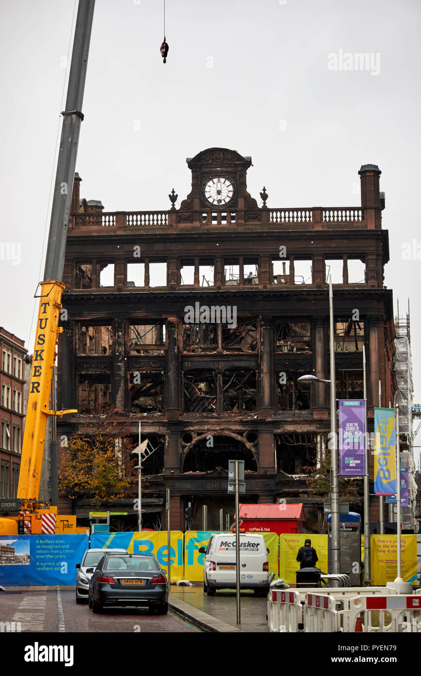 The burned out former Primark bank buildings building and exclusion zone in Belfast city centre northern ireland - Stock Image