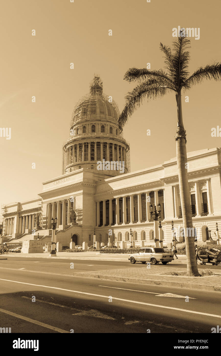 HAVANA, CUBA - JANUARY 16, 2017: Famous National Capitol (Capitolio Nacional) building. The National Capitol Building was the seat of government in Cu - Stock Image