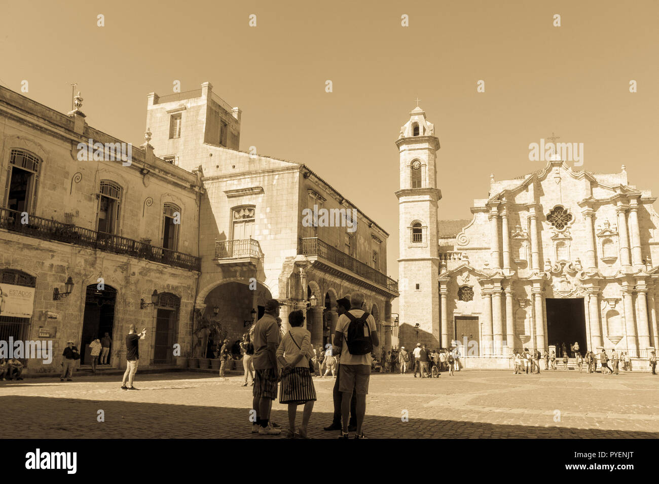 HAVANA, CUBA - JANUARY 16, 2017: Panoramic of Plaza de la Cathedral in Old Havana with the baroque architecture of San Cristobal Cathedral. Cobbleston Stock Photo