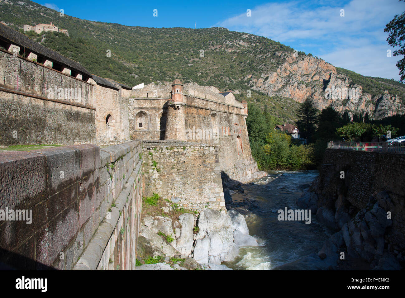 Medieval city Villefranche de Conflent in the Pyrenees mountains in France Stock Photo