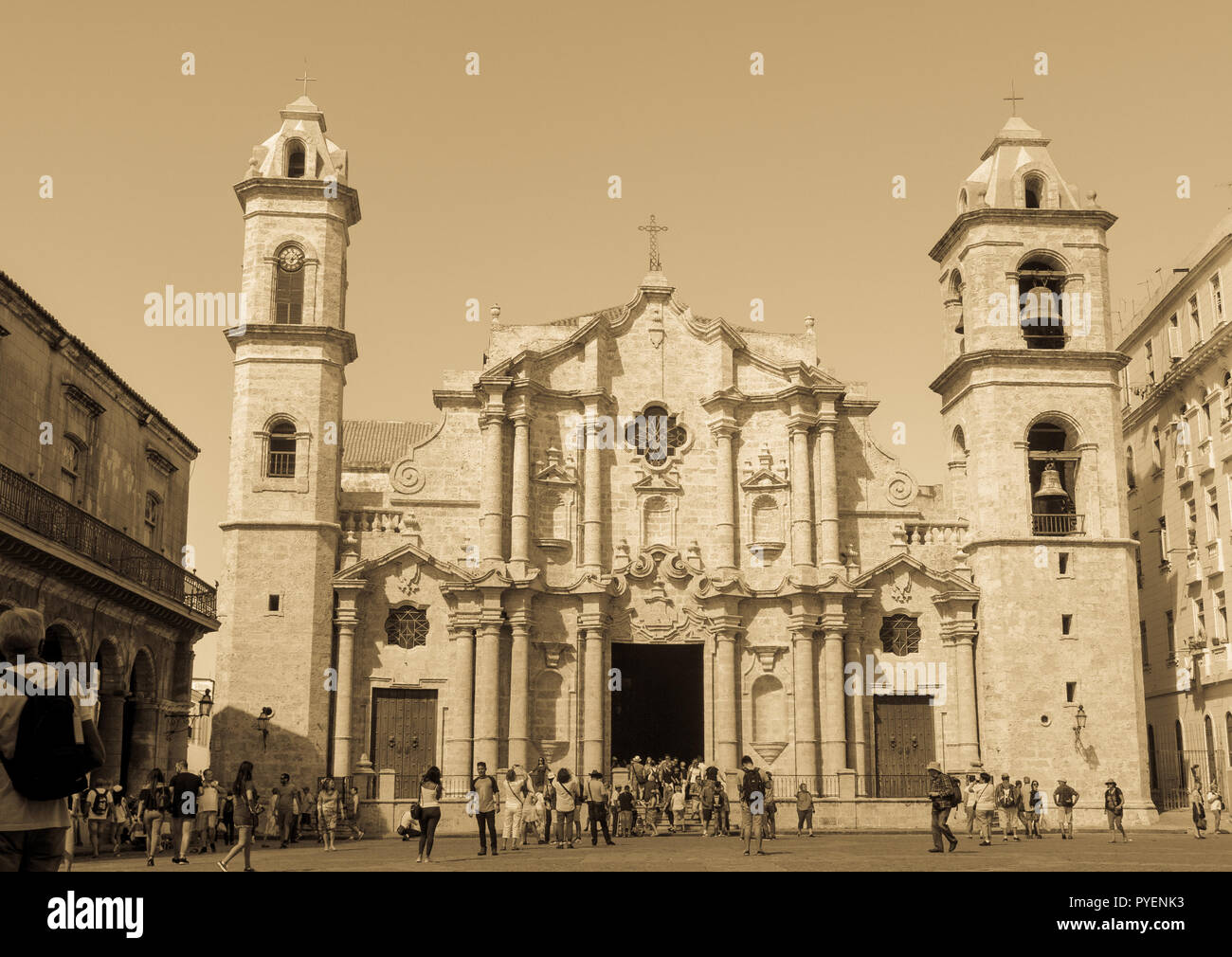 HAVANA, CUBA - JANUARY 16, 2017: Plaza de la Catedral (English: Cathedral Square) is one of the five main squares in Old Havana and the site of the Ca - Stock Image