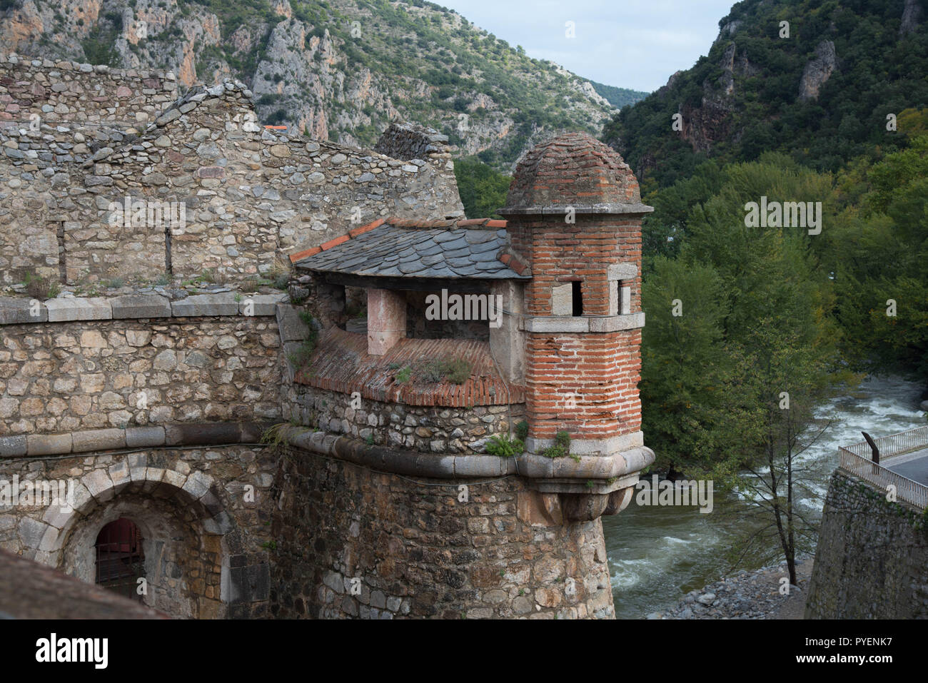 Medieval city Villefranche de Conflent in the Pyrenees mountains in France - Stock Image