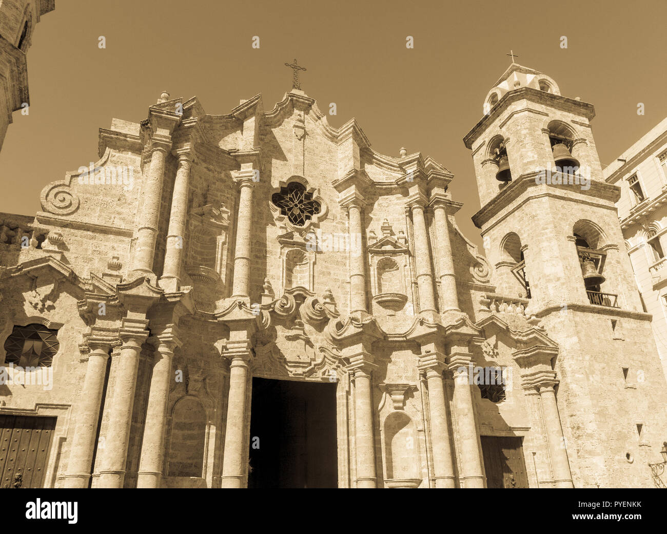 San Cristobal Cathedral, the Havana Cathedral. Cathedral Square is one of the main squares in Old Havana, Cuba - Stock Image