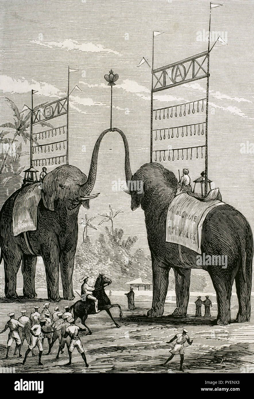 British colonialism. Journey of the Prince of Wales (1841-1910) to India. Later he would become the King Edward VII of the United Kingdom. Triumphal Arch in honour to the Prince of Wales in the city of Colombo, Ceylon Colony (currently Sri Lanka). Engraving by Rico. La Ilustracion Española y Americana, January 22, 1876. - Stock Image